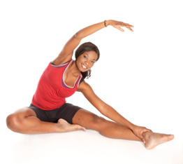 woman doing lower body stretch
